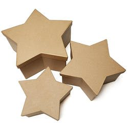 Factory Direct Craft Unfinished Paper Mache Star Nesting Boxes | 3 Boxes