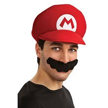 Super Mario Brothers Mario Hat And Mustache Kit, Standard Color, One Size (80s Fancy Dress Characters)
