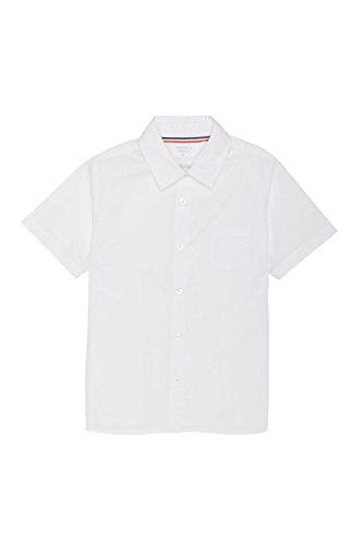 French Toast Little Girls' Short Sleeve Pointed Collar with Pocket Shirt, White, 6 by French Toast