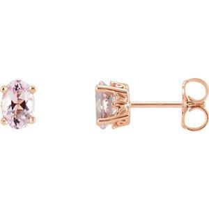 14K carats morganite rose Boucles d'oreilles
