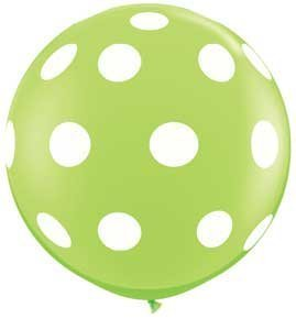 Single Source Party Supplies - 36 (3') Round Big Polka Dots On Lime Green Latex Balloon by Single Source Party Supplies