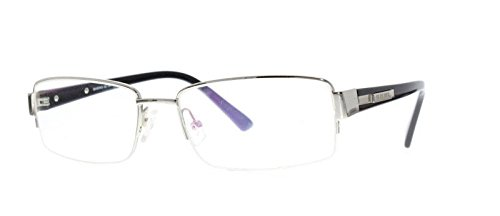 EyeBuyExpress Bifocal Prescription Glasses Mens Womens Silver Stainless Half Rim - Readers Bifocal Silver