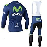 elegantstunning Outdoor Sports Pro Team Men`s Long Sleeve Movistar Cycling Jersey and Bib Pants (Due Cycling Bib)