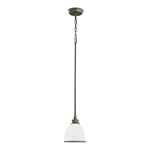 - Sea Gull Lighting 61350-708 Laurel Leaf One-Light Mini-Pendant with Etched Ripple Glass Shade, Estate Bronze Finish
