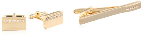 lished Cuff Link and Tie Bar With Crystal Stripe Set, Gold, One Size ()