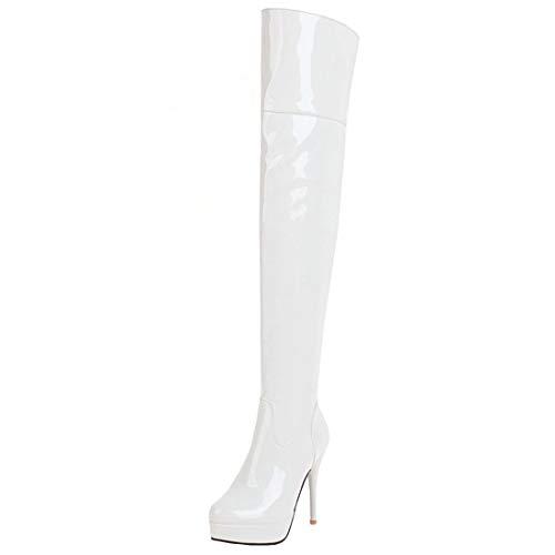 Vitalo Women Stiletto Patent Leather Thigh High Heel Platform Over The Knee Boots Size 7.5 B(M) ()