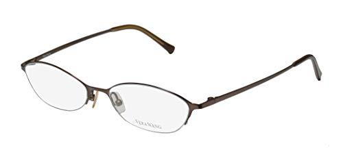 Vera Wang V101 For Ladies/Young Women/Girls Cat Eye Half-rim Titanium Half-rimless Eyeglasses/Eye Glasses (48-17-130, Dark Brown) (New Fashion Brillen Frames)