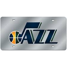 Utah Jazz Silver Deluxe Laser Cut Mirrored License Plate Tag NBA Basketball