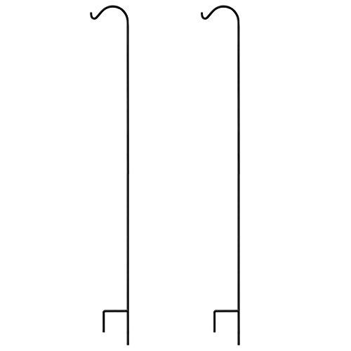 Gray Bunny Shepherd Hook, 92 inch Black 3/5 Inch Thick, Set of 2, Solid Single Piece Heavy Duty Rust Resistant Premium Metal Hook Hangers for Weddings, Plant Baskets Solar Lights Lantern Bird Feeders