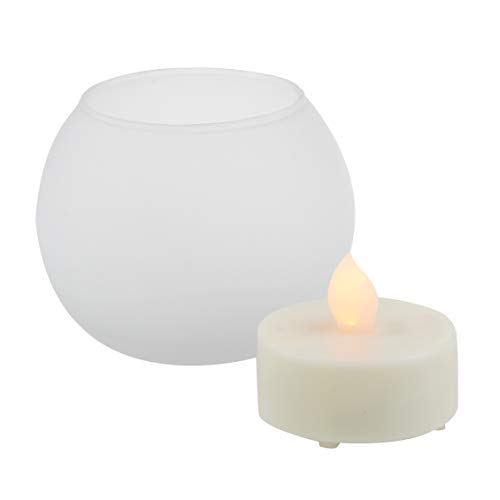 (iZAN Flameless LED Battery Operated Candle with Frosted Glass Candle Holder Flickering Electric Tea Light with Timer for Christmas Home Party Wedding Decorations Long Battery Life, White, Ball Design )