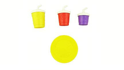 Fisher-Price Laugh & Learn Servin' Up Fun Food Truck - Replacement Plate and Cups with Attached Lids and Straws