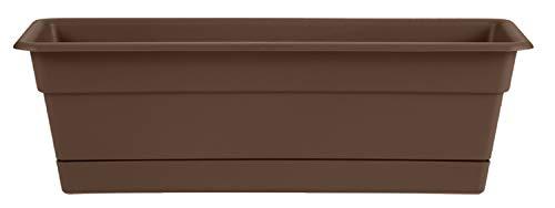Bloem Dura Cotta Window Box Planter w/Tray, 18″, Chocolate (DCBT18-45), 2 Gallon