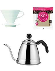 Hario V60 & Fino Coffee Products - 1.2 Liter Drip Coffee Pot, Porcelain Dripper, Spoon & 100 Filters All Sold as a Complete Coffee Brewing Set