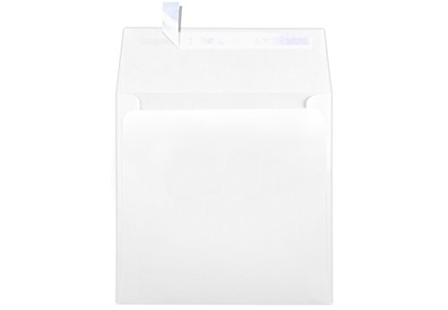 Bright White Announcement - 6 x 6 Square Envelopes w/Peel & Press - 70lb. Bright White (250 Qty.) | Perfect for Invitations, Announcements, Greeting Cards, Photos | 10910-250
