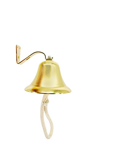 (Trademark Innovations Nautical Brass Colored Ship Bell with Rope Handle)