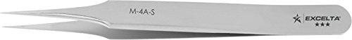 Excelta - M-4A-S - Tweezers - Ultra Fine Point - Miniature - Straight Tapered - Three Star - SS, 0.06