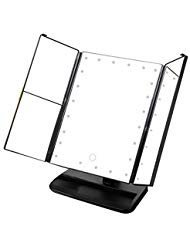 Zinnor Makeup Mirror Vanity Trifold 24-LED Lighted with Touch Screen, 1x/2x/3x Magnification,90 Degree Free Rotation Table Countertop Cosmetic,Three Folding Table LED Lamp Bathroom Light (Black) - Touch Screen Razor