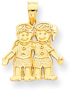 Quality Gold Boy and Girl (Twins) Charm, Yellow Gold by Quality Gold