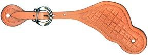 Abetta Shaped Spur Straps - Natural Gold/basket Tooled - Youth/ladies -