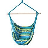 SueSport New Hanging Rope Chair – Swing Hanging Hammock Chair – Porch Swing Seat – With Two Cushions – Max.265 Lbs, Green
