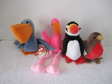 Lot of 4 Ty Beanie Baby Birds - Puffer the Puffin, Pinky the Flamingo, Early the Robin and Scoop the Pelican - Great for Party Favors, Birthday Parties and Bird Aficiandos from TY
