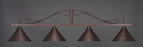 Toltec Lighting 824-BRZ-420 Scroll - Four Light Billiard, Bronze Finish with Bronze Cone Metal Shade