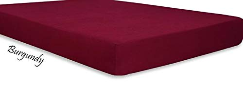 Both Pattern Solid/Stripe 1-Piece- Fitted- Sheet with 20-25 inches Extra Fit Deep Pocket Hotel Finish Adjustable Room 400 Thread Count 100% Pima Cotton (King, Solid, Burgundy).