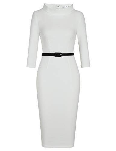 MUXXN Lady Elegant 3/4 Sleeve Belt Waist White Wedding Party Pencil Dress (White M)