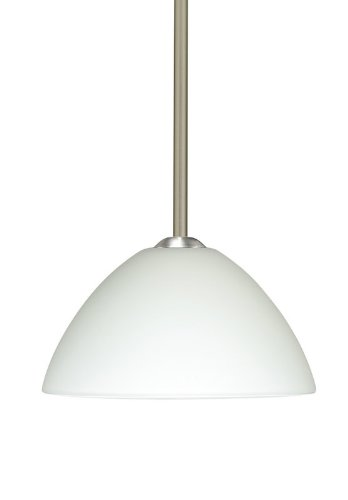Besa Lighting 1TT-420107-LED-SN 1X6W GU24 Tessa LED Pendant with White Glass, Satin Nickel Finish
