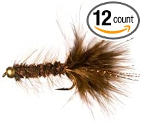 6 flies Fly Fishing Flies Bead Head Flashabugger Brown Bass, Bream, Trout