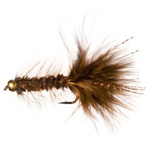 Gold Bead Flash A Bugger Fly Fishing Flies for Trout (Brown, 6) ()