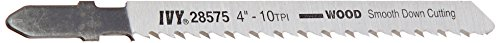 4in Plywood Blade - IVY Classic 28575 4-Inch 10 TPI T-Shank Jig Saw Blade, Wood/Laminate Down-Cutting, High-Carbon Steel, 3/Card