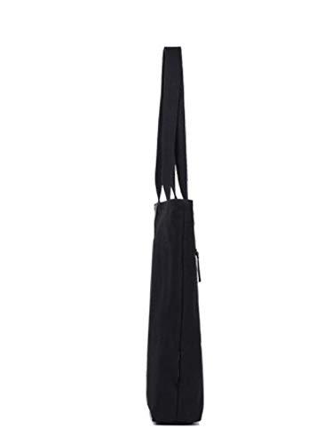 Black Kinue Fashion Tote Bag High Capacity Canvas Shoulder Bag Light Commuter File Shopping Travel Handbag