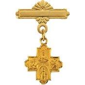 4 Way Cross Baptismal Pin - 14K Yellow Gold 12.00X12mm 4-Way Cross Baptismal Pin