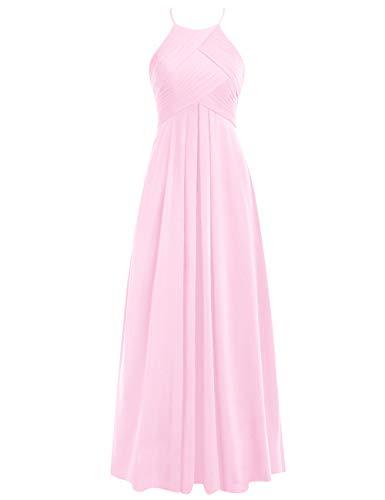 Rosa Neckholder Brautjungfernkleider Hochzeitskleider Chiffon Lang A Rückenfrei Ballkleider Linie 52W Abendkleider zzrq5CTwx