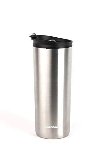 Costablue Vacuum Insulated Stainless Steel Travel mug, 16 Oz Easy to clean and leak proof lid (Stainless Steel)