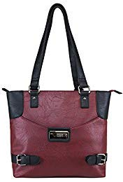Tote Buckle Side - Concealed Carry Purse - Conceal Double Buckle Tote by VISM (Burgundy with Black)
