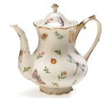 English Teapot - Porcelain Butterfly & Dragonfly Teapot Trimmed In Gold
