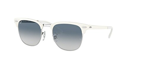 Ray-Ban RB3716 CLUBMASTER METAL 90883F 51M Silver On White/Clear Blue Gradient Sunglasses For Men For ()
