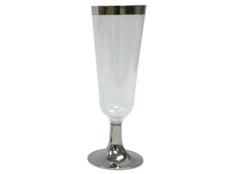 Reflections 2 Piece Plastic Champagne Glass with Silver Base and Trim, 5-Ounce, Clear (96-Count)
