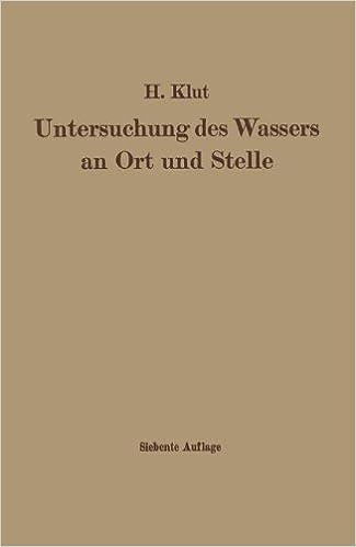 Book Untersuchung Des Wassers an Ort Und Stelle