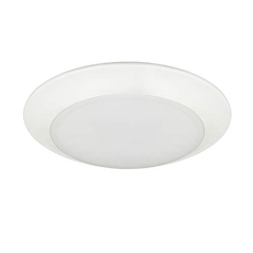 JULLISON 8 Inch LED Low Profile Recessed and Surface Mount Disk Light, Round, 120VAC, 18W, 1500Lumens, 5000K Daylight White, CRI80, DOB, Dimmable, Energy Star, ETL Listed, White, 1 Pack (Shower Led Light Fixture)