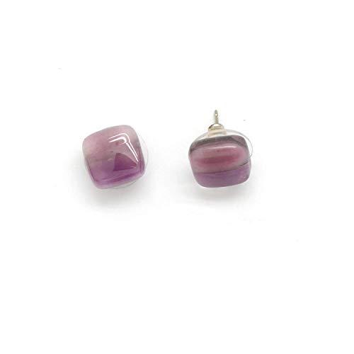 Tiny Square Fused Glass Stud Earrings - Amethyst Purple. Fair Trade.