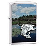 Zippo Fish In Lake Pocket Lighter, Brushed Chrome