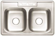 Premier 3562896 3-Hole Double Bowl Sink, 20-Gauge, Stainless Steel, 33'' X 22'' X 8'', 21.649 '' x 21.649 '' x 21.649'' by Premier