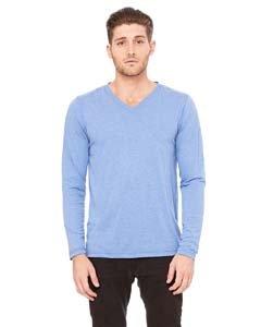 Bella + Canvas Unisex Jersey Long-Sleeve V-Neck T-Shirt BLUE TRIBLEND L
