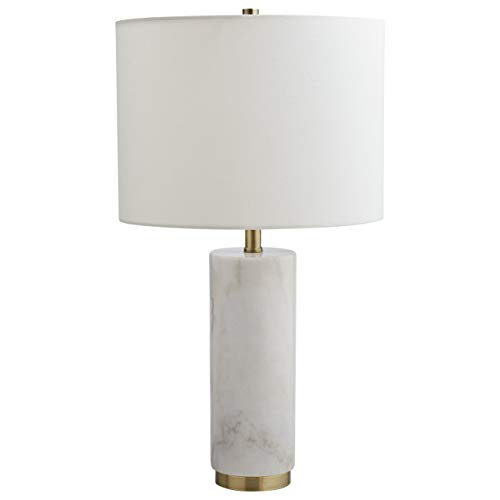 Rivet Mid Century Modern Marble Pillar Table Desk Lamp With Light Bulb - 4 x 4 x 22 Inches, White Marble and Brass