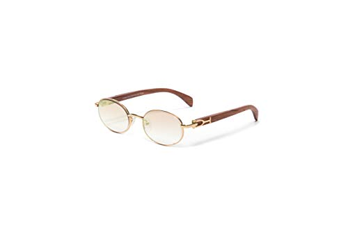 VINTAGE WOOD COLLECTION Gold and Wood Frame Sunglasses, Genuine Brown Cherry Wood, Oval Gradient Brown White Gold Flash Lens, Mirror ()