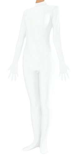 [Marvoll Unisex Lycra Fullbody Catsuit Without Hood for Kids and Adults (Large, White)] (White Cat Costume For Women)
