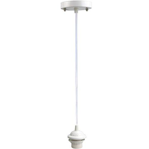 Lightingsky 1m Plastic Ceiling Hanging Light Cord with E26 Scoket Lamp Holder for Paper Lantern Lampshade (White, 1m)